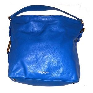 Isaac Mizrahi blue leather handbag EUC
